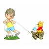 Disney Precious Moments Figurine - Pooh Age 1 Christopher Robin Pulling Pooh in Wagon