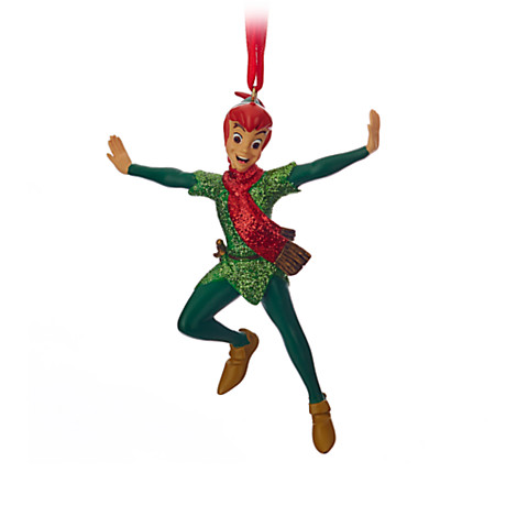 - Disney Christmas Ornament - Peter Pan Soaring In Green And Red