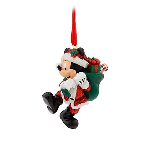 disney christmas ornament santa mickey with bag of gifts