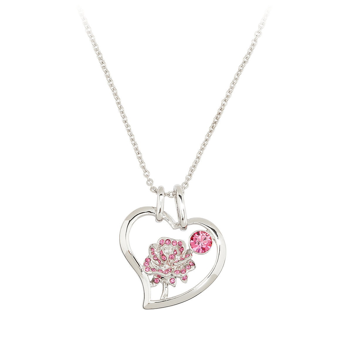 Disney Arribas Necklace Belle Crystal Rose Necklace Pink