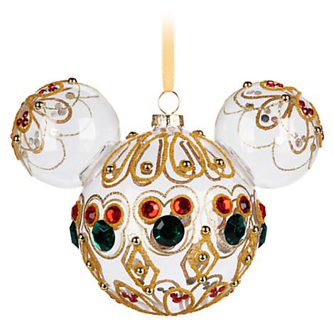 Disney Parks Minnie Mouse Ears Filigree Jeweled Gold Keychain NWT