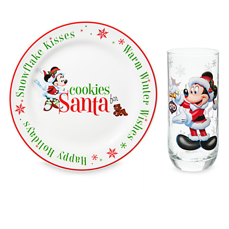 disney holiday glass and plate set cookies and milk for santa