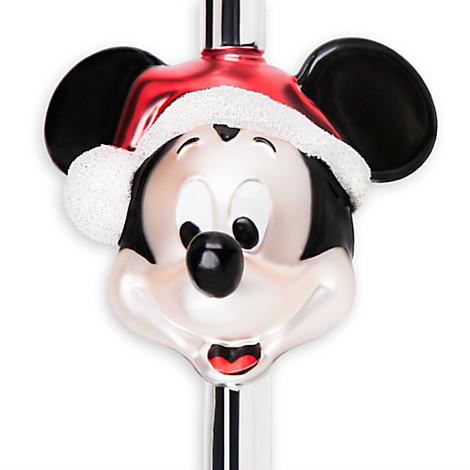 - Disney Christmas Tree Topper - Glass Santa Mickey Mouse