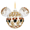 Disney Mickey Ears Christmas Ornament - Red and Green Bejeweled