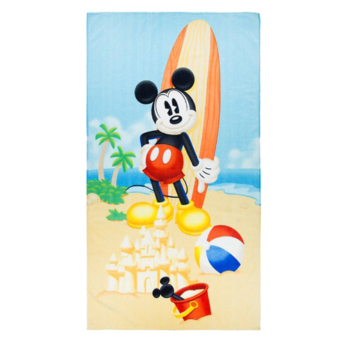 32f1fce0f6669 Disney Beach Towel - Mickey Mouse with Surfboard at the Beach