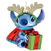 Disney Christmas Ornament - Blown Glass - Stitch with Reindeer Antlers