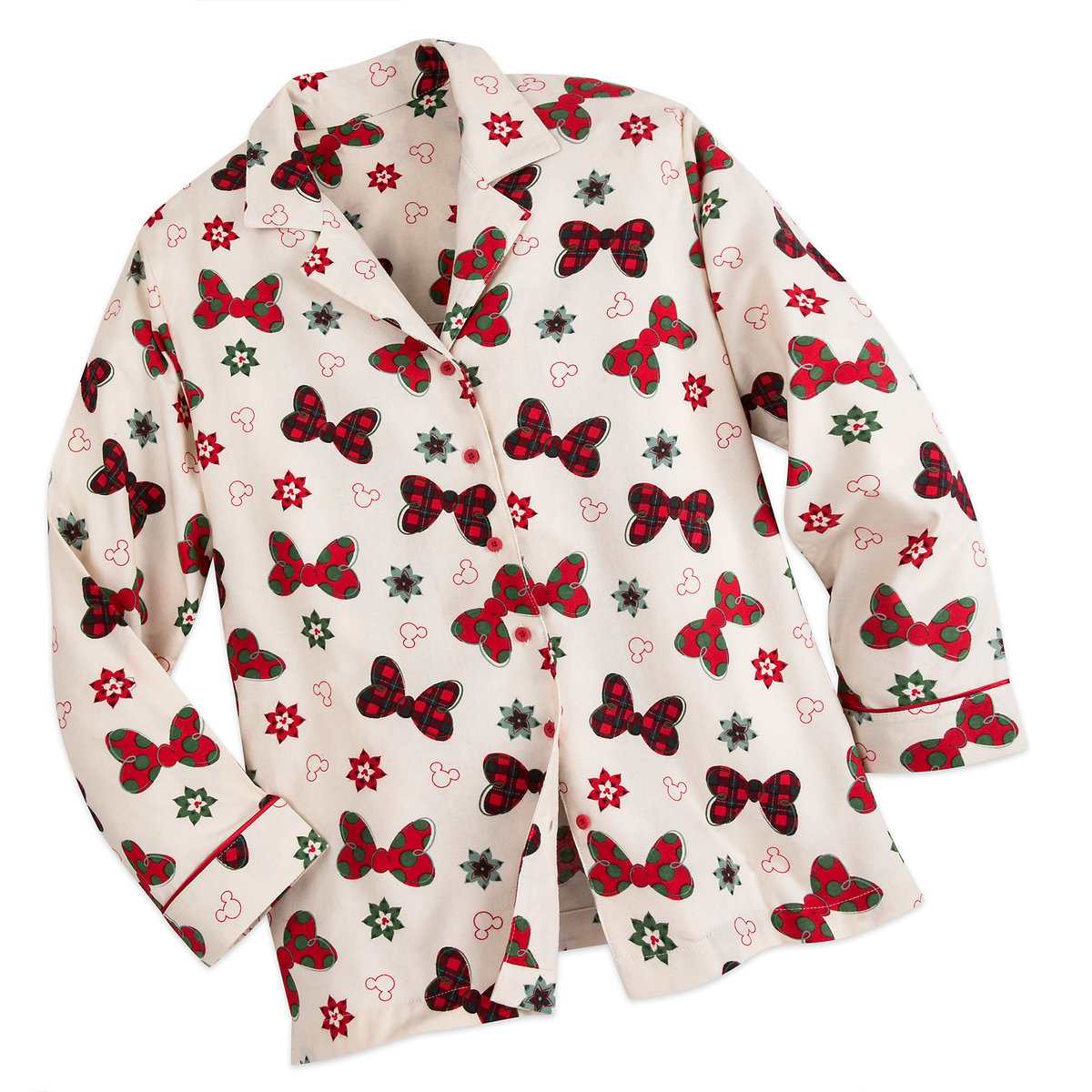 disney ladies christmas pajamas holiday flannel minnie mouse bows