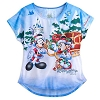 Disney LADIES Tee Shirt - Happy Holidays Santa Mickey and Friends