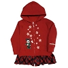 Disney Girls Holiday Hoodie - Festive Minnie with Plaid Ruffle Trim