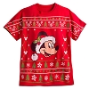 Disney Adult Shirt - Santa Mickey Mouse Sweater Design Tee - Red