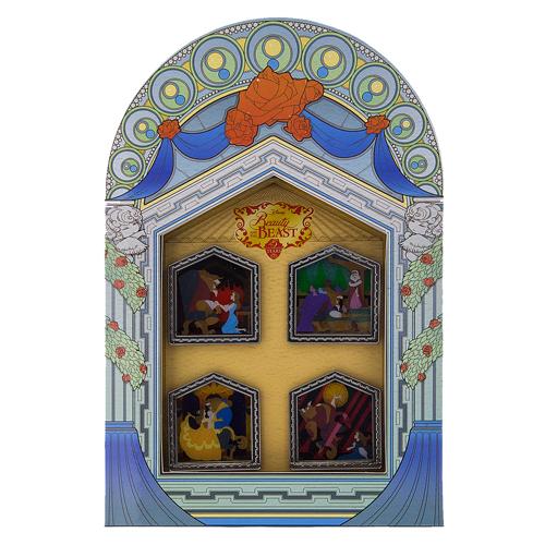 Beauty And The Beast Christmas Pin: Disney 4 Pin Boxed Pin Set