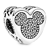 Disney PANDORA Charm - Mickey & Minnie Mouse Icon Heart Shaped