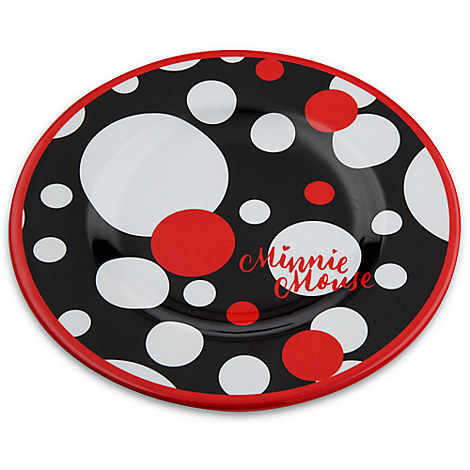 your wdw store disney plastic plate set minnie dot dessert plate