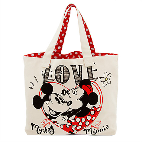 disney canvas tote bag mickey and minnie mouse love