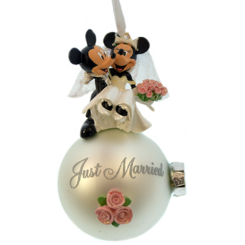 Disney Christmas Ornament Mickey Minnie Mouse Wedding Just Married