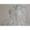 Disney Artist Sketch - Belle and Beast with Rose