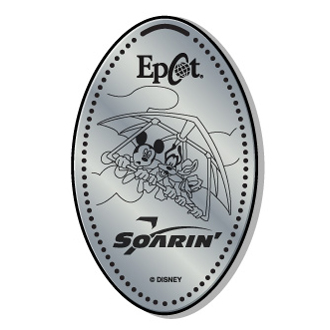 Disney Pressed Quarter - Disney characters riding Soarin'