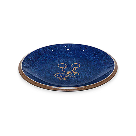 Disney Dessert Plate - Mickey Icon - Blue and Tan