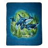 SeaWorld Throw Blanket - Fleece Orca Whale in Waves