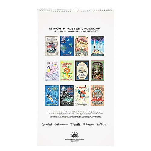 disney calendar 2018 disney parks attraction posters 12 month