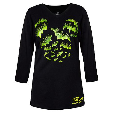 Walt Disney World Halloween T Shirts.Disney Ladies Shirt 2017 Halloween Mickey Icon Bats Long Sleeve