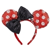 Disney Ears Headband - Minnie Mouse Polka Dots with Black Bow Sequined