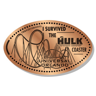 Universal Pressed Penny - I Survived the Hulk Coaster