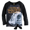 Disney WOMEN'S Shirt - Star Wars: Death Star Tie-Front Pullover Top