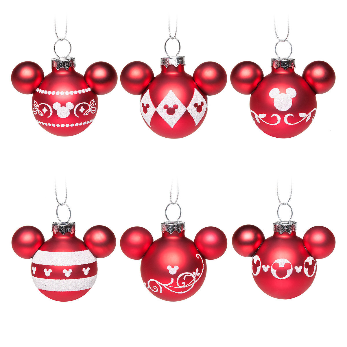 Disney Ornament Set - Mickey Icons - Red and White Peppermint