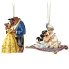 Disney Jim Shore Ornament Set - Aladdin and Jasmine, Belle and Beast