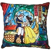 Disney Throw Pillow - Beauty & The Beast Stained Glass Window