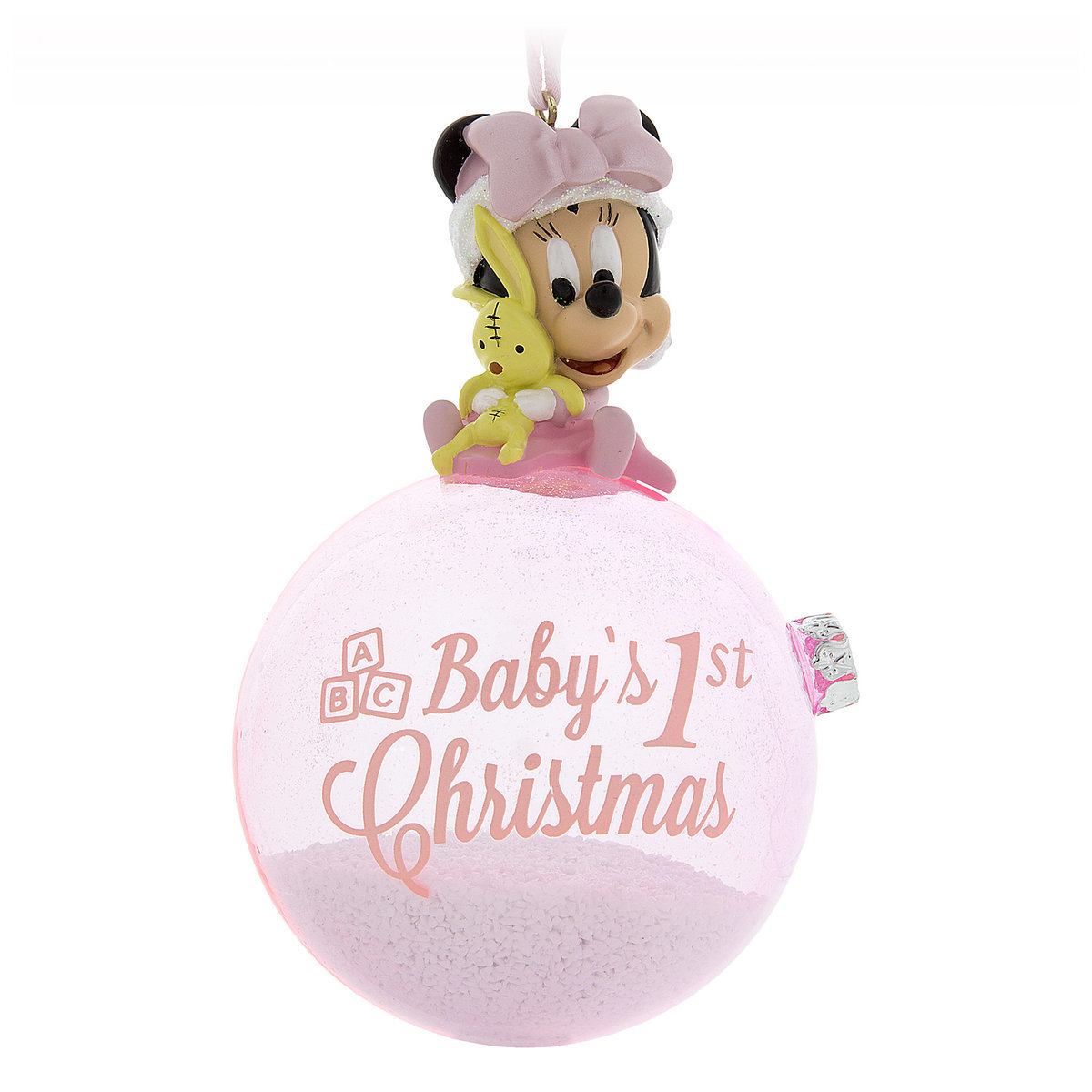 disney figure on a ball ornament minnie babys first christmas