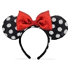 Disney Ears Headband - Minnie - Sequined Black & White with Red Bow
