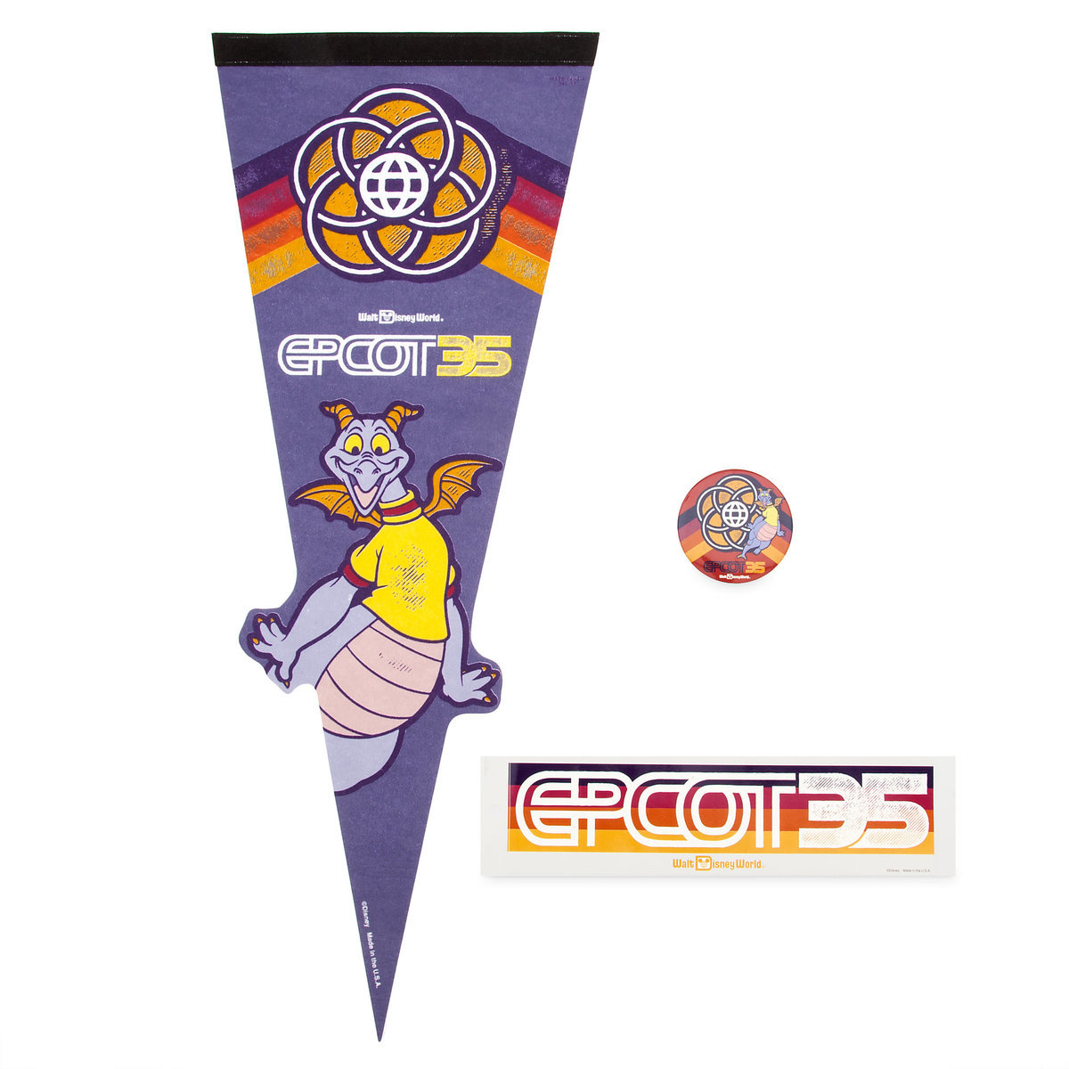 Disney Pennant Fan Pack - Epcot 35th Anniversary - Figment - 3 Piece