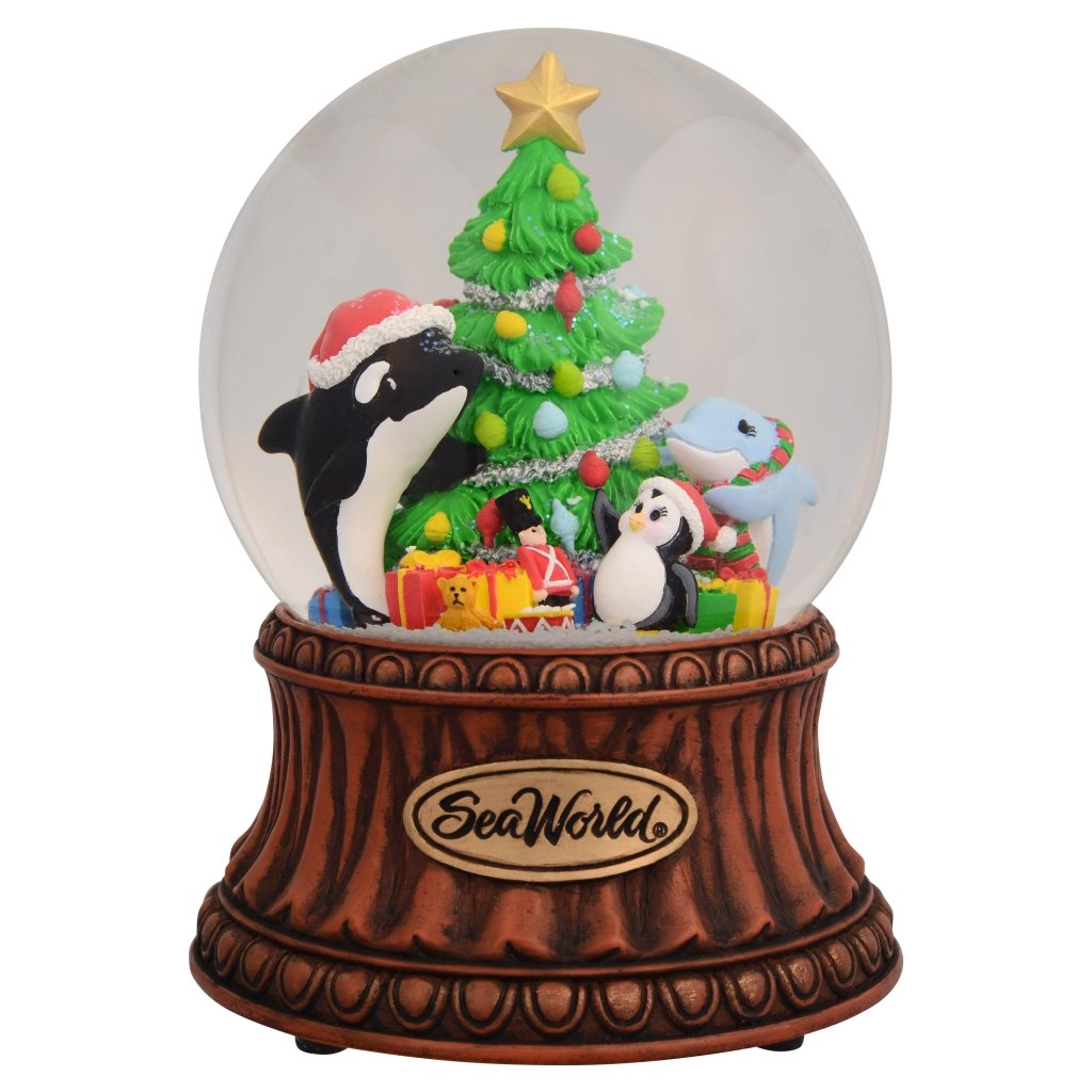 Snowing And Musical Christmas Tree: SeaWorld Musical Snow Globe