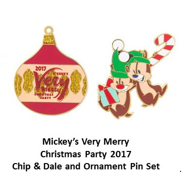 Disney Very Merry Christmas Party Pin Set - 2017 Chip Dale