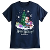 Disney Adult Shirt - 2017 Happy Holidays Santa Mickey Tee - Navy