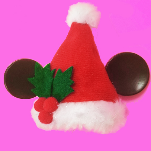 disney christmas ornament mickey mouse ears santa hat with holly