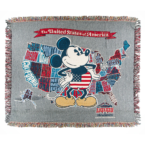 Disney Throw Blanket   Epcot World Showcase   Mickey U.S.A. Map