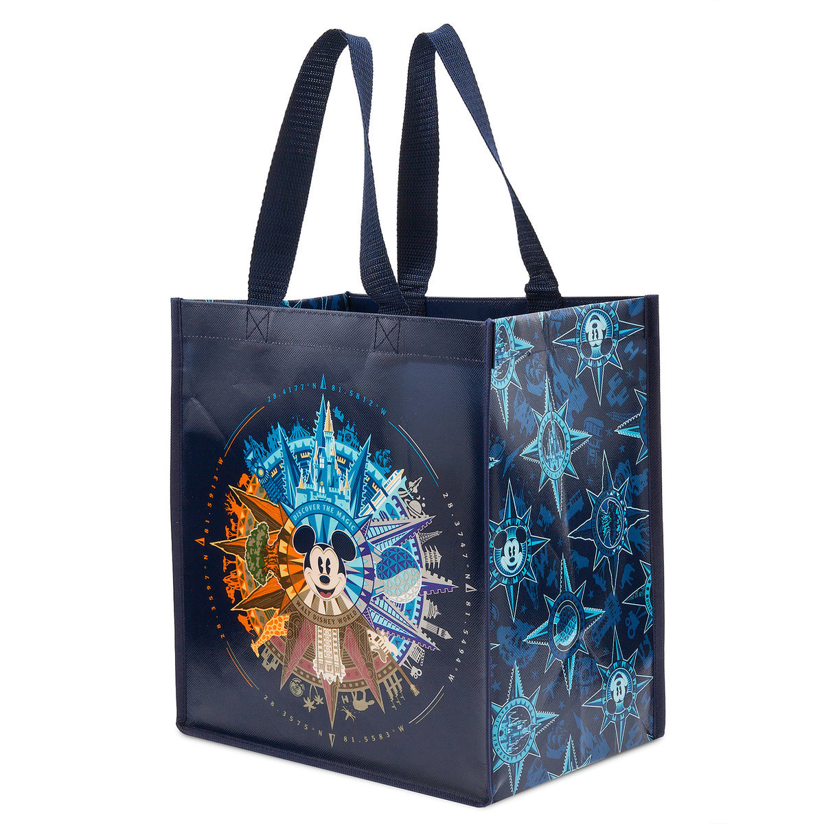 Disney Reusable Tote Bag Mickey Mouse Compass World Wdw Store Icon Pin Circuit Board Tap To Expand