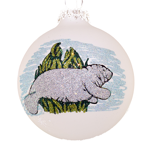 SeaWorld Christmas Ornament - Blown Glass - Hand Painted - Manatee