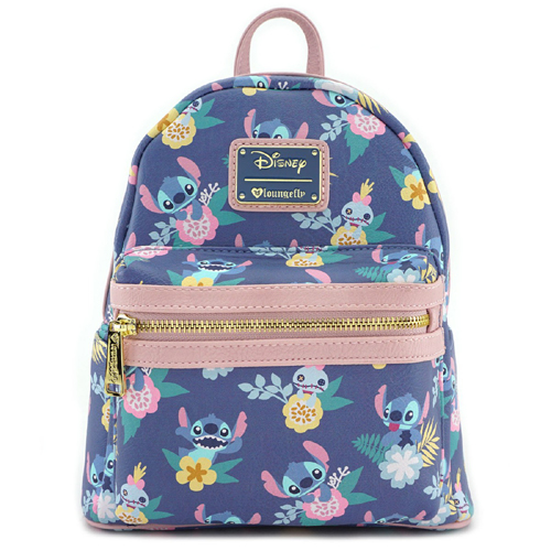 Disney Mini Backpack - Loungefly x Stitch   Scrump Floral Print