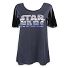 Disney Women's Shirt - Star Wars Logo Mesh Sleeve