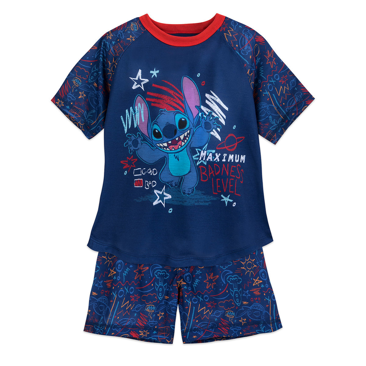 Disney Boy's Sleep Set - Stitch Maximum Badness Shorts Sleep Set