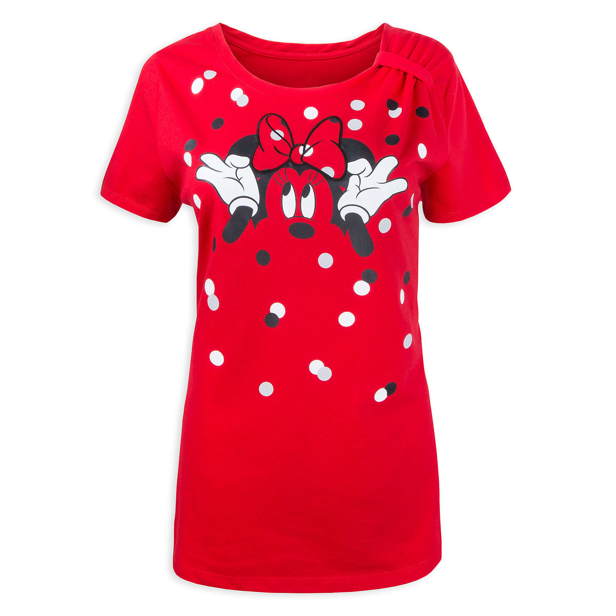 Disney Women's Shirt - Minnie Mouse Tie-Neck T-Shirt - Red