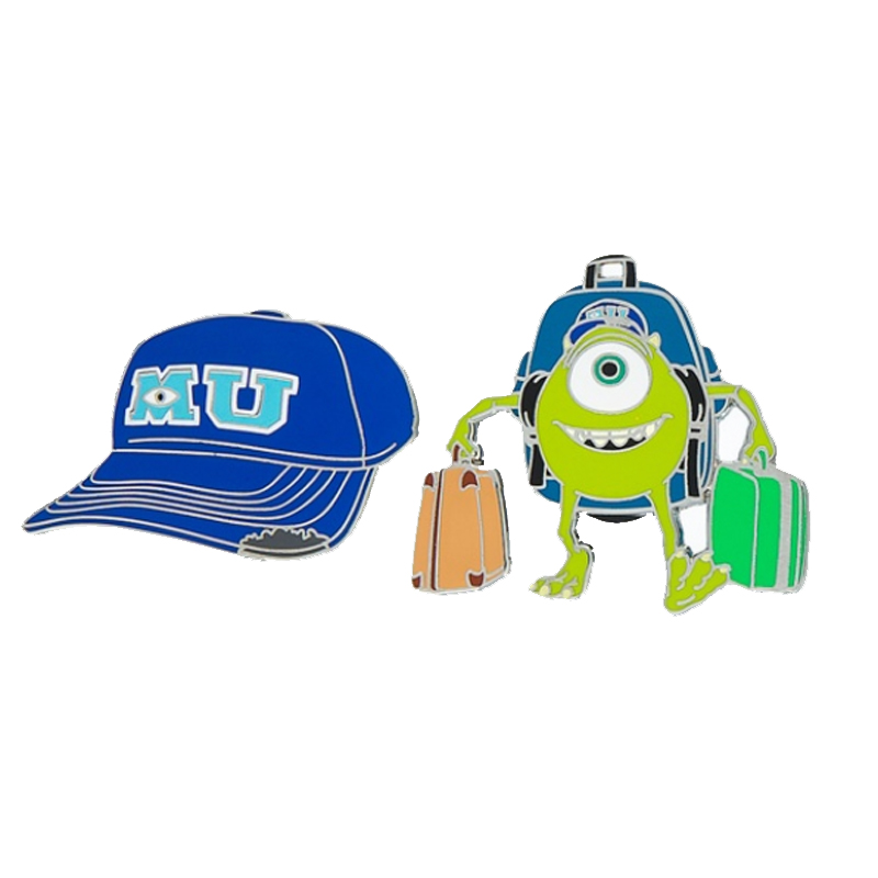 Disney 2 Pin Set - Monsters University Hat & Mike Pin Set