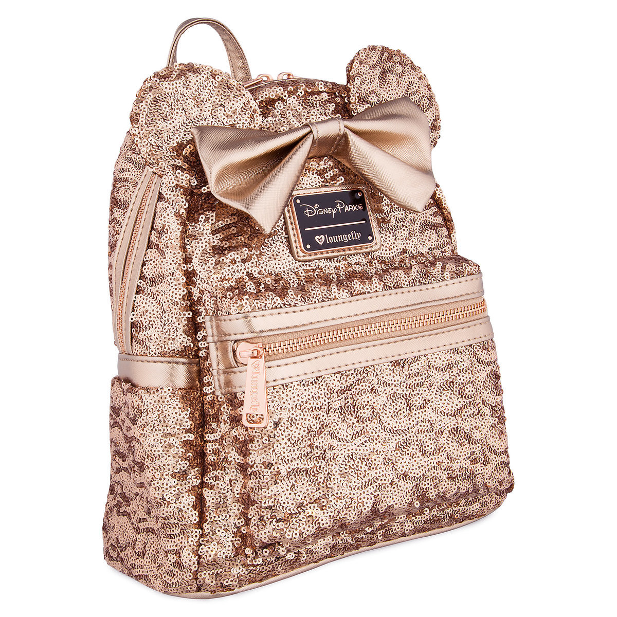 de615404b68 Disney Loungefly Mini Backpack - Minnie Mouse - Rose Gold Sequin