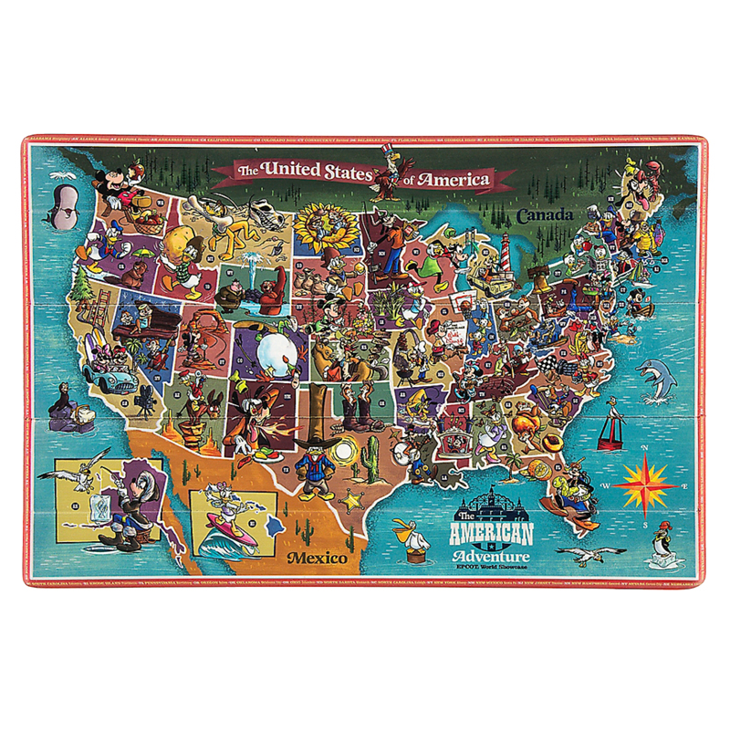 graphic about Printable Disney World Maps known as Disney Wall Artwork - American Experience Map Wood