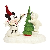 Disney Department 56 Snowbabies - Lighting the Tree with Mickey