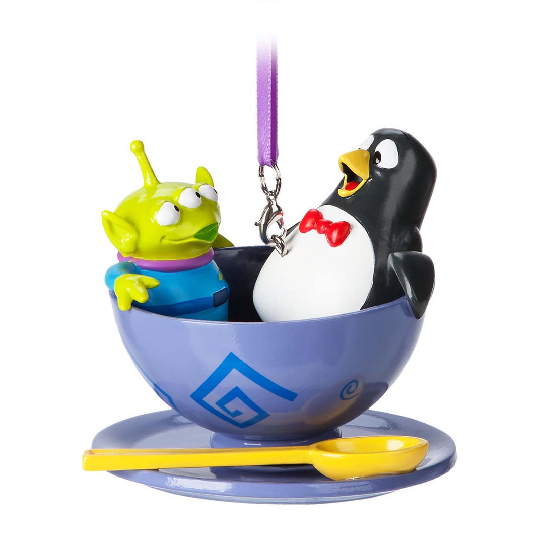 Disney Ornament Toy Story Penguin And Alien In Alice Spinning Teacup